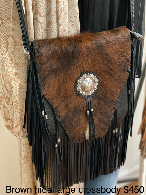 BROWN HIDE LARGE CROSSBODY