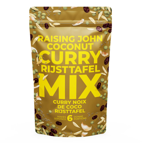 Whether you need a simple meal solution after a hard days' work, or want to impress your dinner guests with your prowess in the kitchen, the Raising John Rijsttafel curry meal will have you coming back for seconds. Home Made Easy!   Serves 4   5 Minute prep-time  All you need is water, coconut milk, and some rice *this meal is not spicy Gluten-free and vegan Mostly organic ingredients  Risttafel is a dutch word meaning 'rice table'. It was inspired by the Indonesian meal Nasi Padang, a traditional Sumatran meal where many different condiments and dishes are served alongside steamed rice.   We have adapted the Rijsttafel concept and present it to you with a flourish of colour, texture, and flavour.  Our version of this meal is Vegan. However, it can be supplemented with grilled chicken, tiger prawns or any other enhancements that inspire you. To add a sweet hint of the tropics to your rijsttafel meal, lightly fry some banana in butter or coconut oil and serve as a condiment.