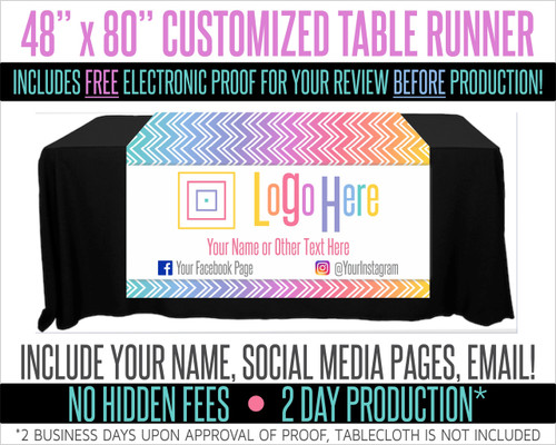 "Full Color Table Runner with Your Logo in a Chevron Fade Style Background - 48"" x 80"""