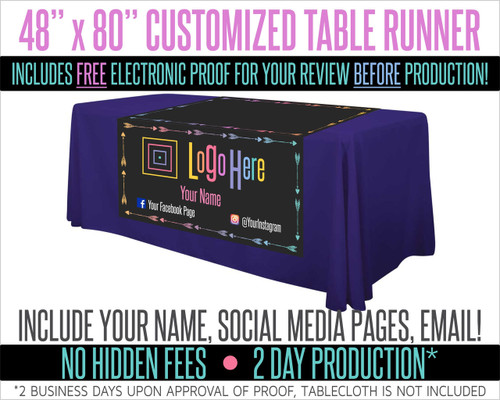 "Full Color Table Runner with Your Logo in a Arrow Style Border- 48"" x 80""- Black"