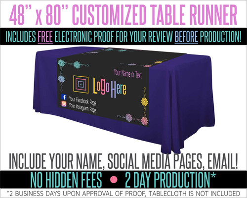 """Full Color Table Runner with Your Logo in a Flower Styled Border- 48"""" x 80"""" - Black"""