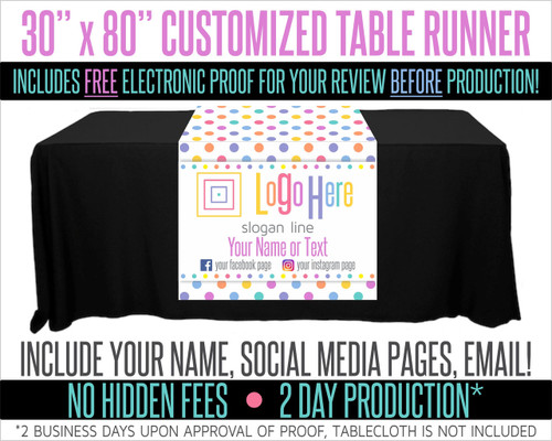 "Full Color Table Runner with Your Logo in a Polka Dot Style Background - 30"" x 80"""