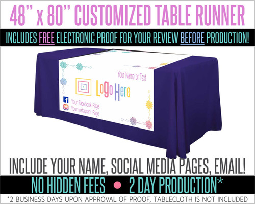 "Full Color Table Runner with Your Logo in a Flower Styled Border- 48"" x 80"" - White"
