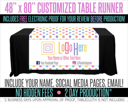 "Full Color Table Runner with Your Logo in a Polka Dot Style Background - 48"" x 80"""