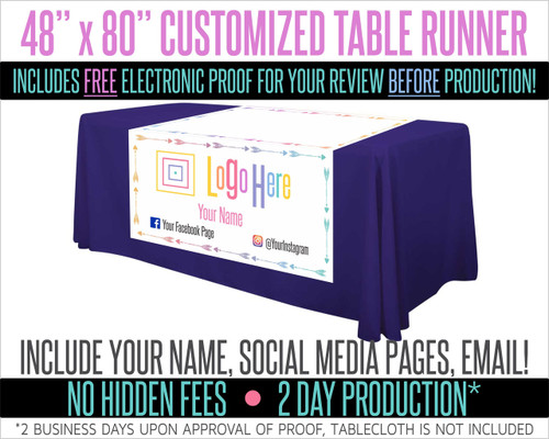 "Full Color Table Runner with Your Logo in a Arrow Style Border- 48"" x 80""  - White"
