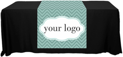 "Full Color Table Runner with Your Logo in a Chevron S&D Style Background - 30"" x 80"""