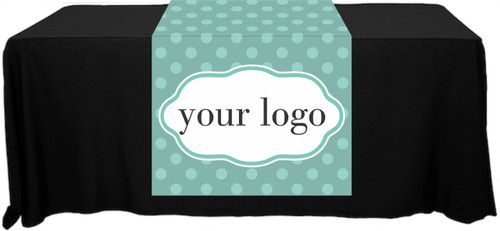 "Full Color Table Runner with Your Logo in a Polka Dot S&D Style Background - 30"" x 80"""