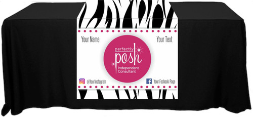 "Perfectly Posh Full Color Table Runner - Zebra Pattern - Customizable! - 30"" x 80"""