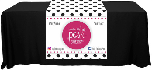 "Perfectly Posh Full Color Table Runner - Polka Dot Pattern - Customizable! - 30"" x 80"""