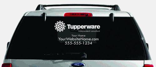 Tupperware Single-Color Logo Car Decal with Custom Name, Website, etc.