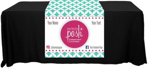 "Perfectly Posh Full Color Table Runner - Diamond Pattern - Customizable! - 30"" x 80"""