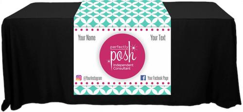 "Perfectly Posh Full Color Table Runner - Diamond Pattern - Customizable! - 30"" x 80"""