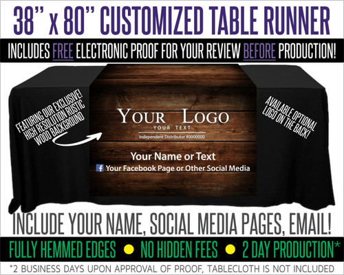 "Full Color Table Runner with Your Logo - 38"" x 80""  -  Dark Wood Background!"