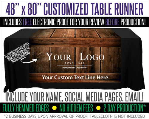 "Full Color Table Runner with Your Logo - 48"" x 80""  -  Dark Wood Background!"