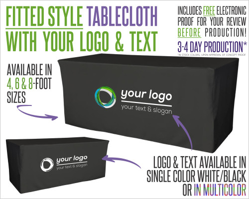 Fitted Tablecloth With Logo and Fabric Color Options