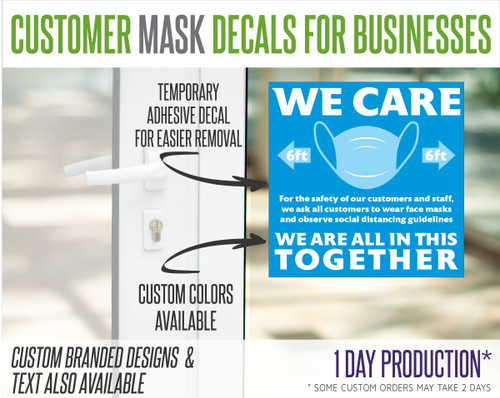 """Wear Mask Request Decal for Stores and Businesses - """"Customers"""""""