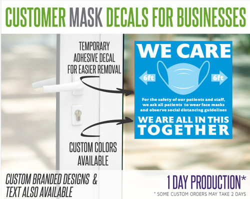 """Wear Mask Request Decal for Stores and Businesses - """"Patients"""""""