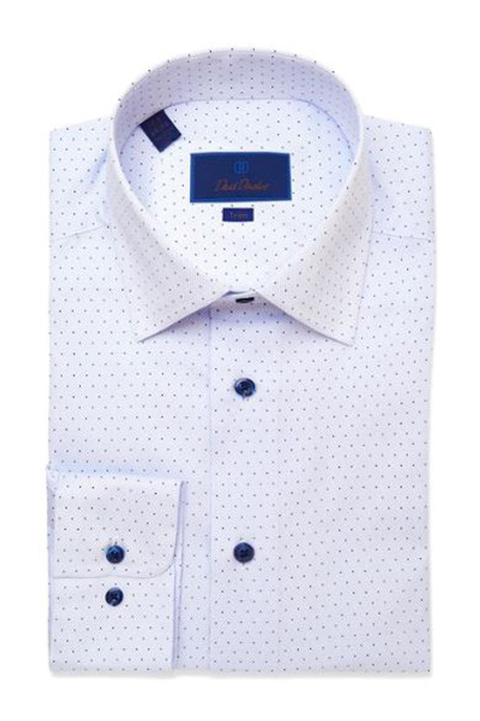 David Donahue Blue Micro Dot Print Dress Shirt