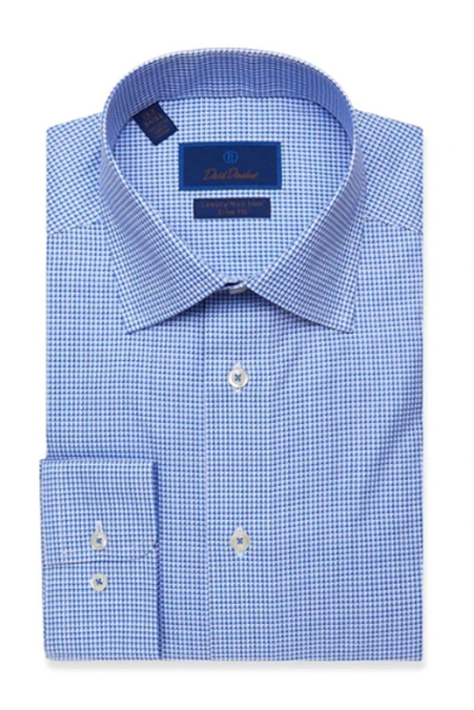 David Donahue Blue Houndstooth Non Iron Dress Shirt