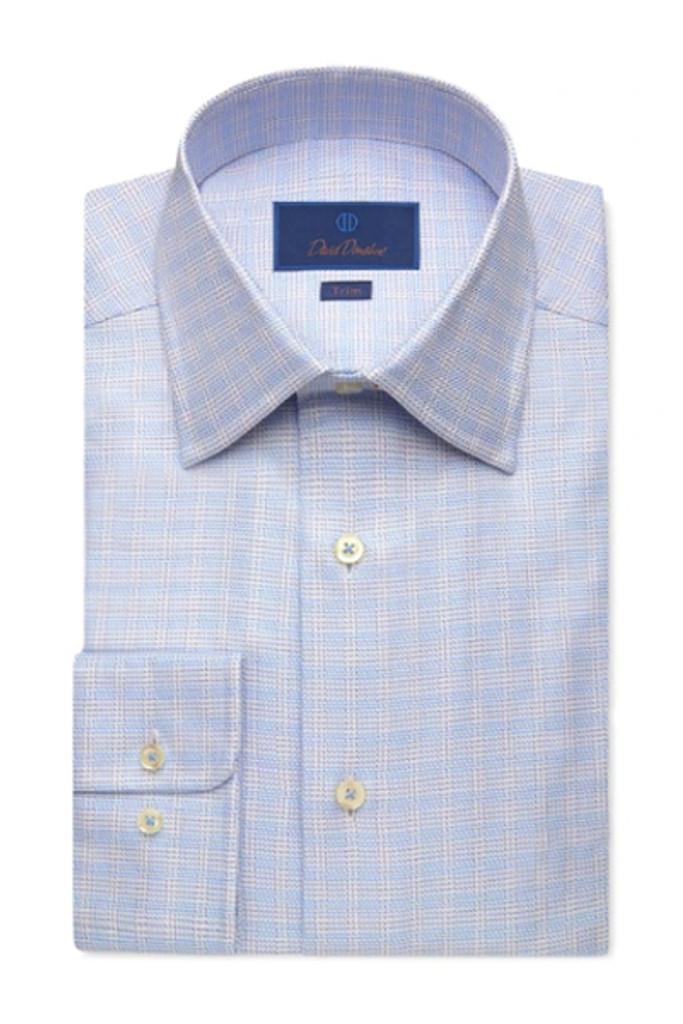David Donahue Blue Plaid Twill Dress Shirt
