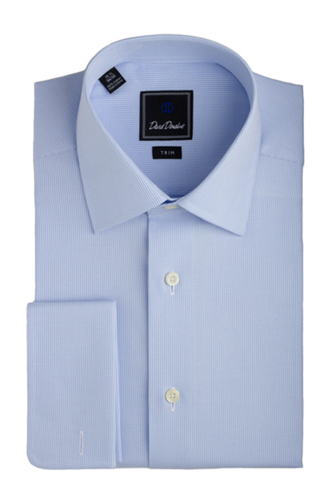 David Donahue Micro Chevron Sky Blue Trim Dress Shirt
