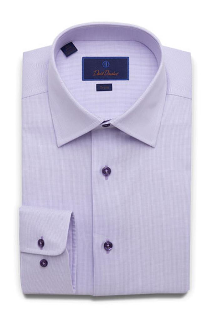 David Donahue Textured Solid Trim Dress Shirt