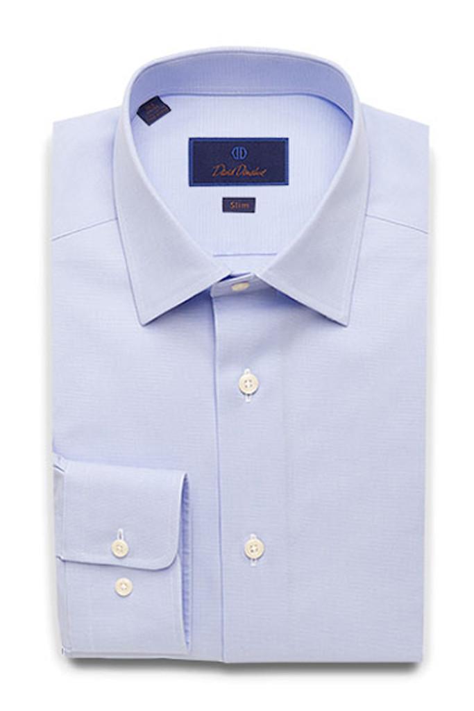 David Donahue Sky Micro Dobby Weave Slim Dress Shirt