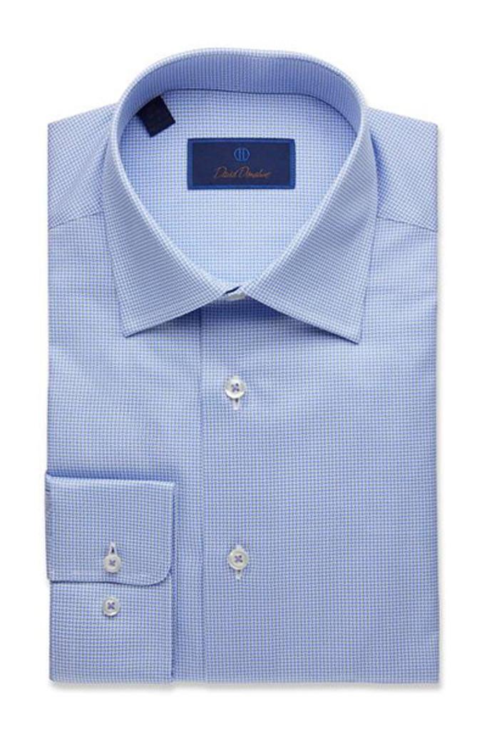 David Donahue Micro Geometric Printed Twill Trim Dress Shirt