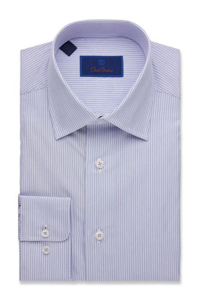 David Donahue Poplin Framed Stripe Trim Dress Shirt