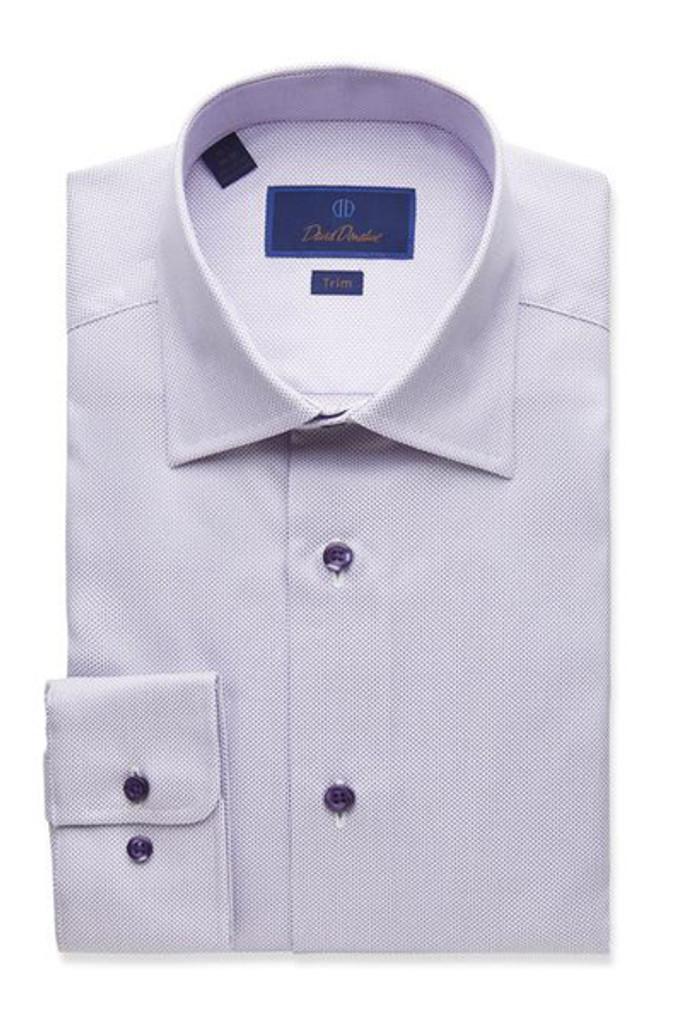 David Donahue Lilac Textured Micro Tic Trim Dress Shirt