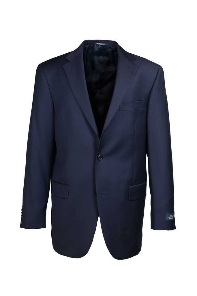 Hart Schaffner & Marx Chicago Navy Solid Pleated Suit