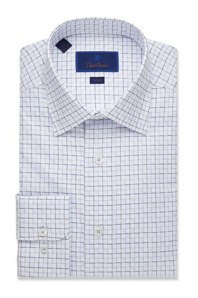 David Donahue White Window Check Trim Dress Shirt