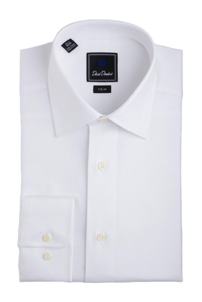 David Donahue White Royal Oxford Trim Dress Shirt
