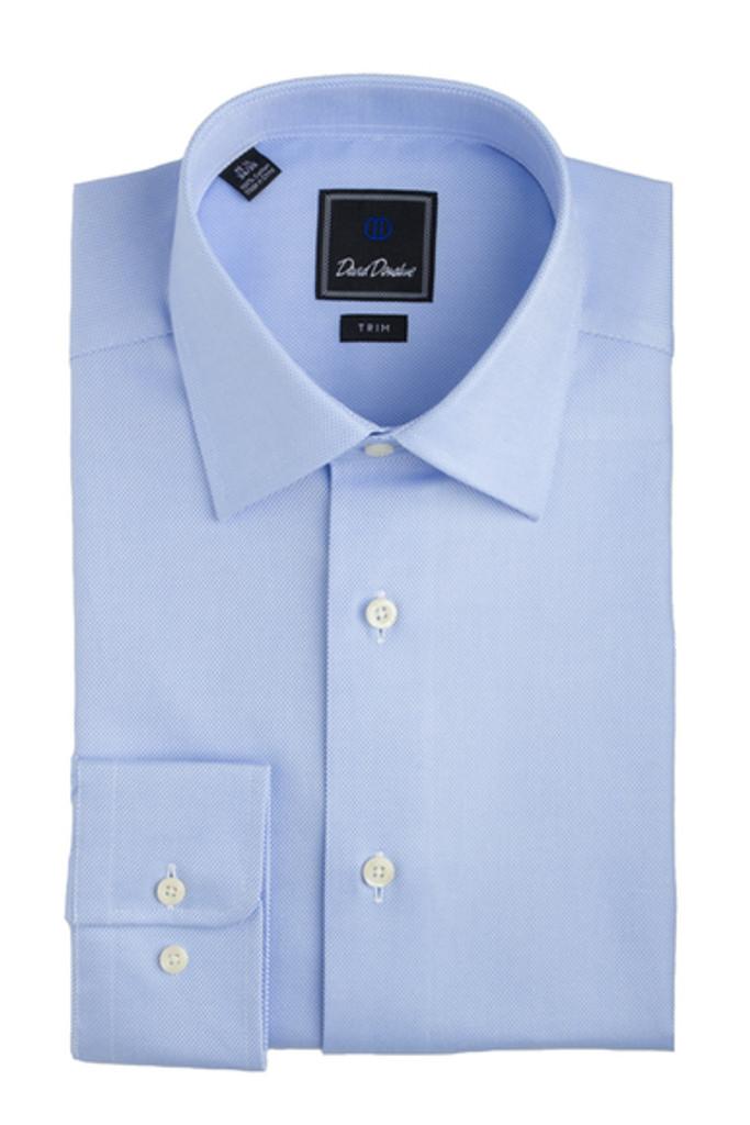 David Donahue Blue Royal Oxford Trim Dress Shirt