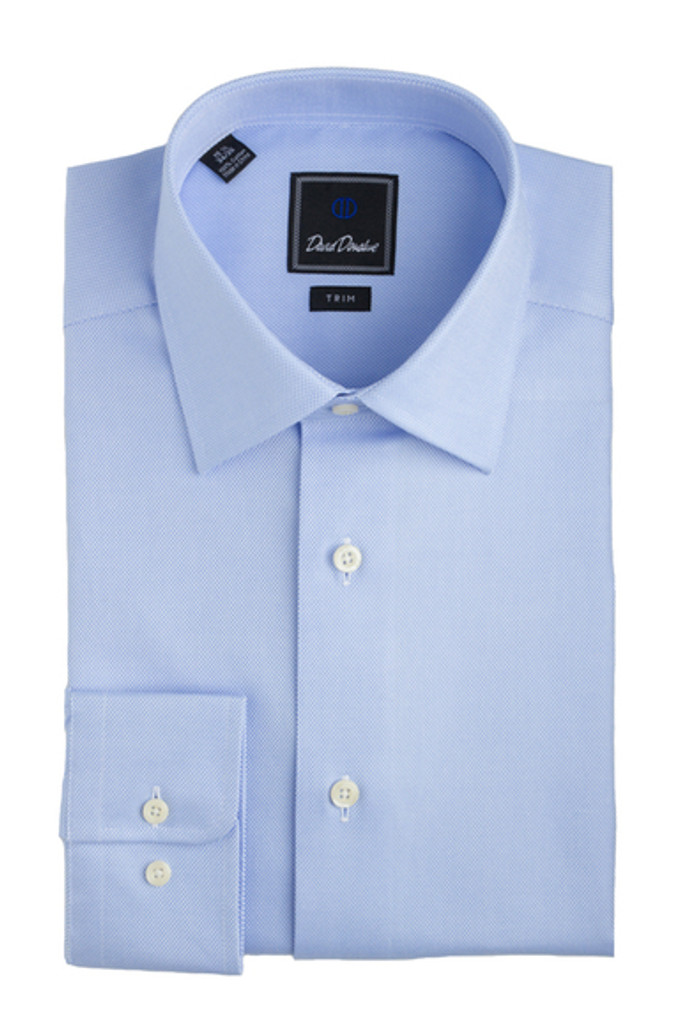 David Donahue Blue Royal Oxford Trim Dress Shirt