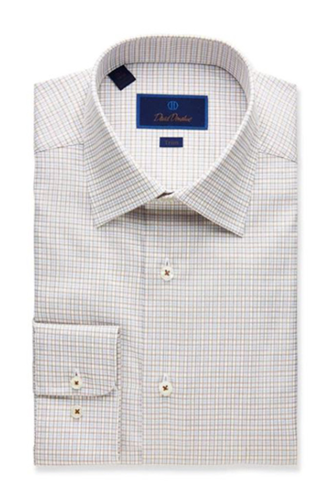 David Donahue Fine Line Twill Plaid Trim Dress Shirt