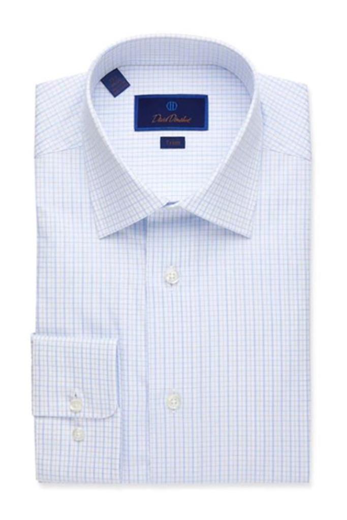 David Donahue Textured Open Check Trim Dress Shirt