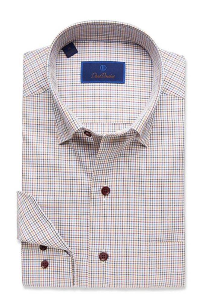 David Donahue Navy & Merlot Tattersal Shirt