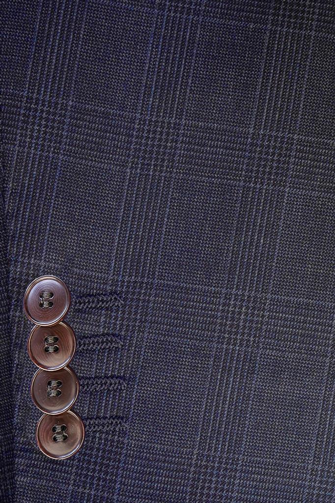 Byron Mid Blue Plaid Modern Fit Suit