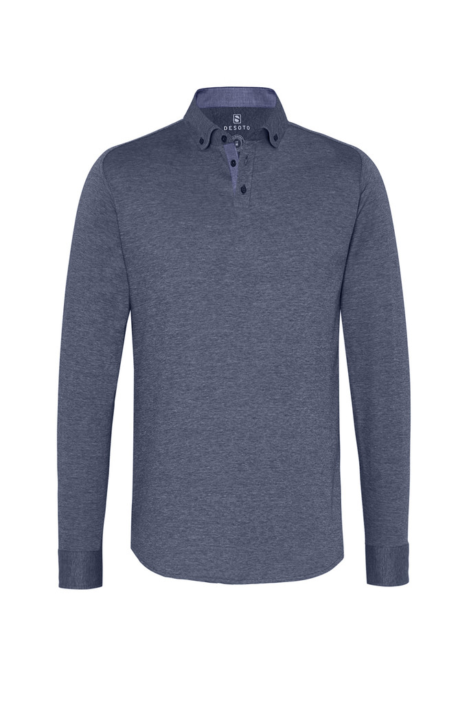 Desoto Denim Solid Long Sleeve Polo