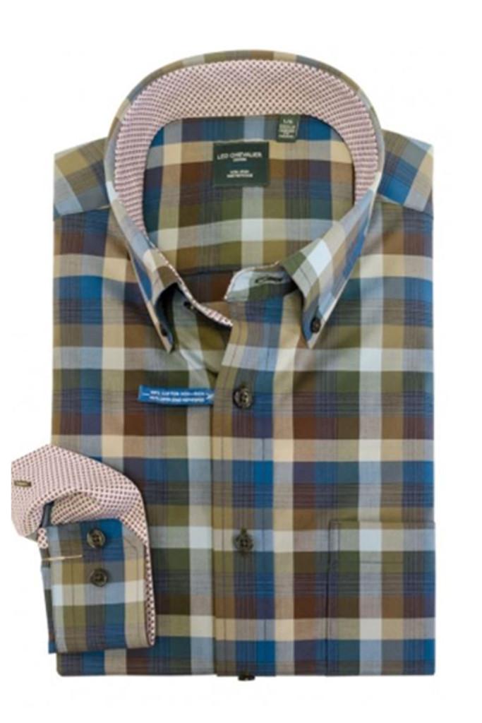 Leo Chevalier Olive, Blue & Brown Plaid Shirt