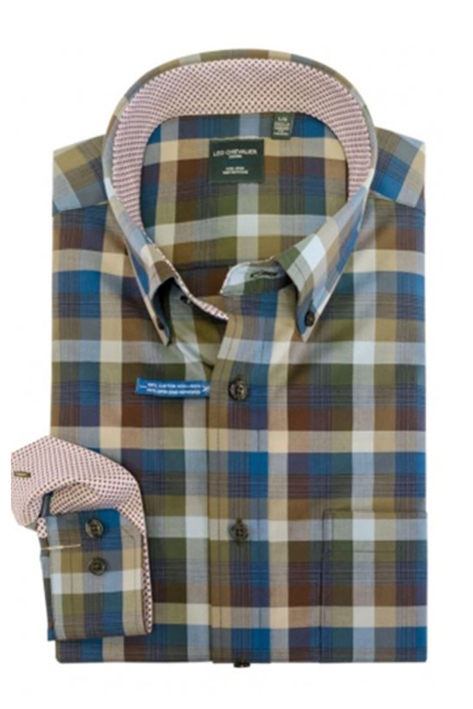 Leo Chevalier Tall Olive, Blue & Brown Plaid Shirt