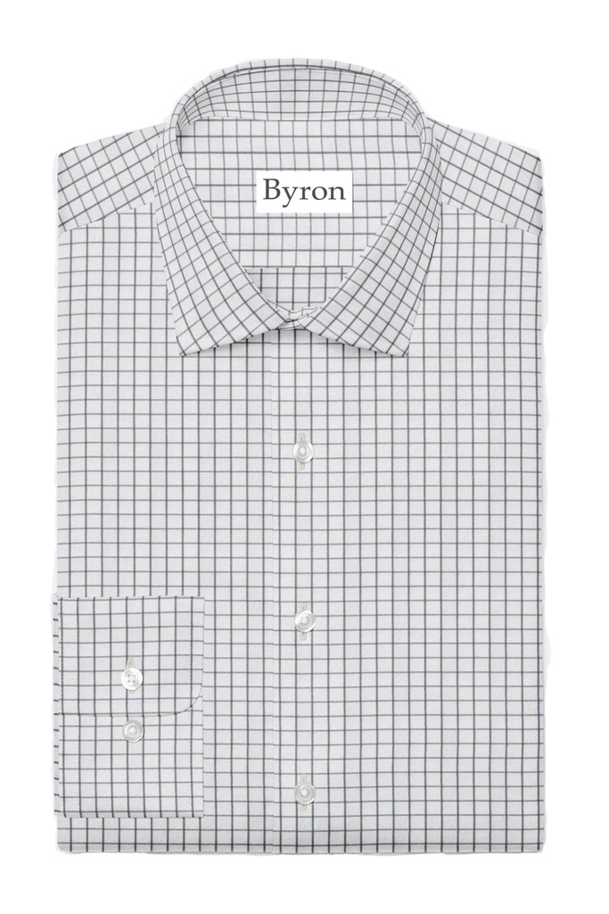 Byron Big & Tall Grey Windowpane Performance Shirt