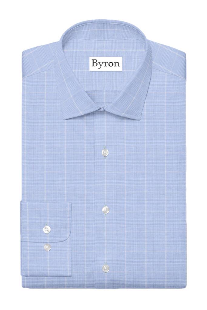 Byron Big & Tall Wrinkle-Resistan Sky Blue Glen Plaid Shirt