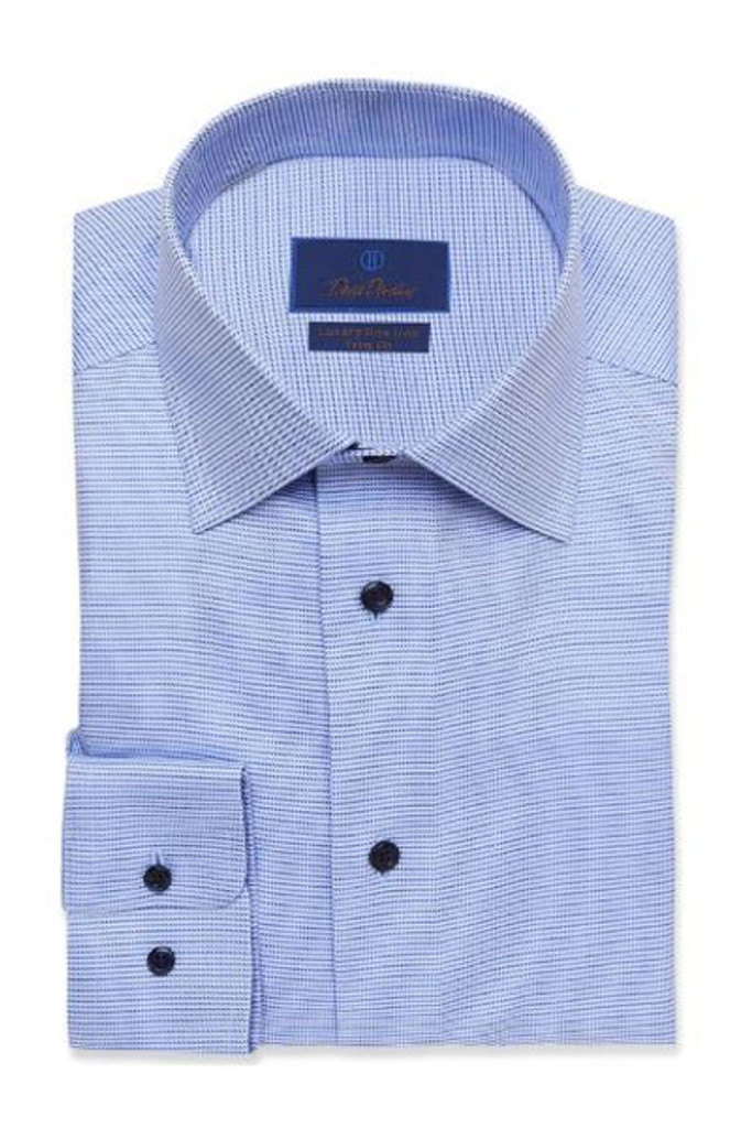 David Donahue Blue Tonal Non Iron Trim Dress Shirt