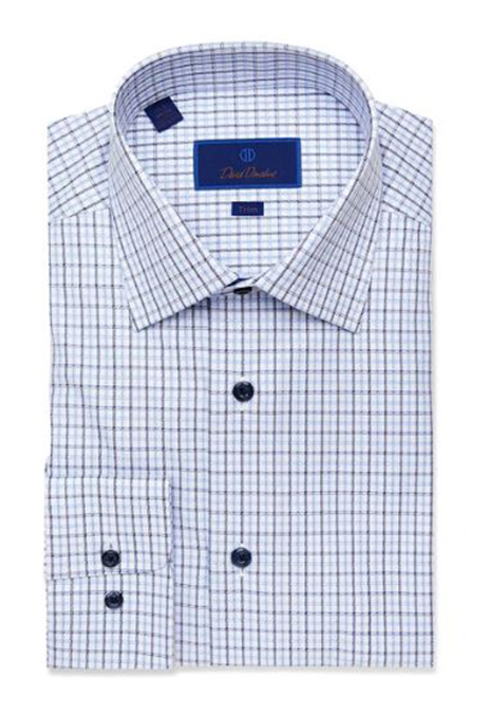David Donahue Blue & White Textured Check Trim Dress Shirt