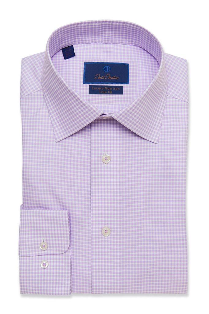 David Donahue Lilac Check Non Iron Dress Shirt