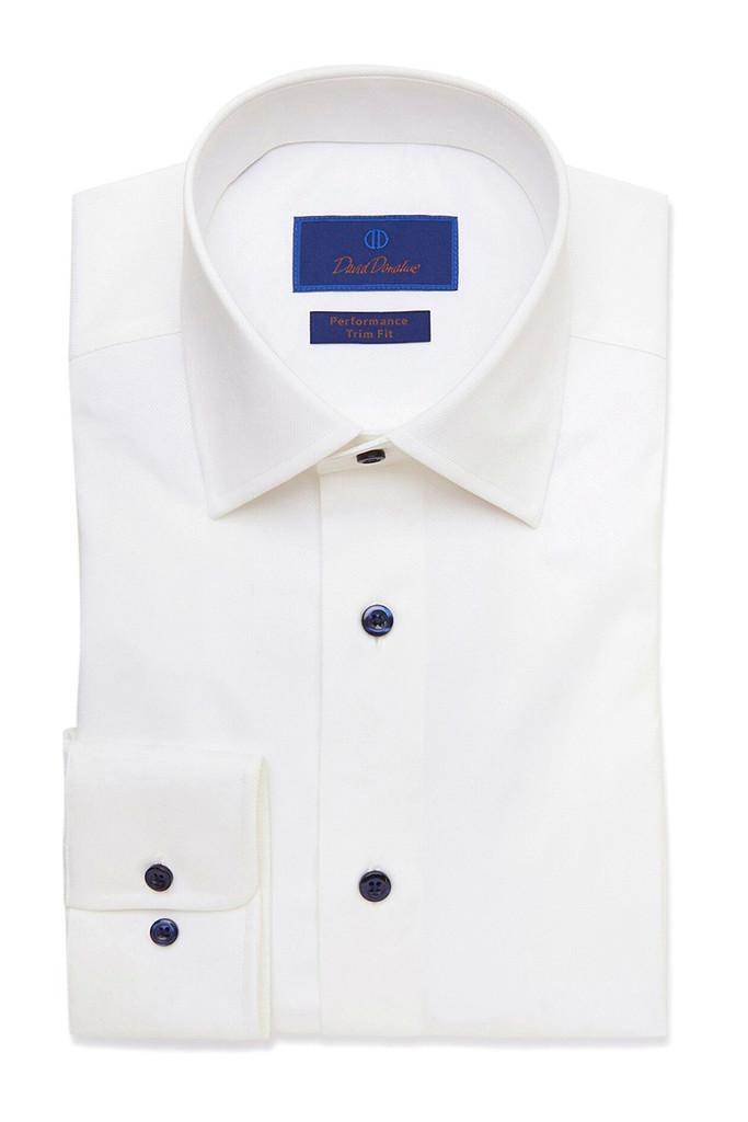David Donahue White Performance Dress Shirt