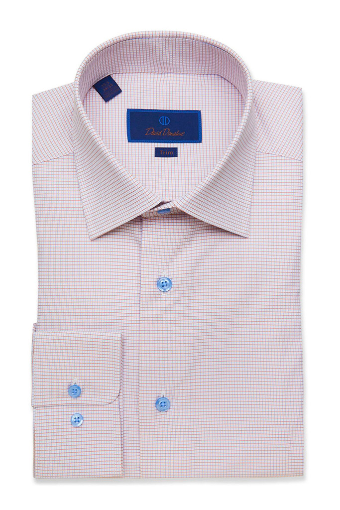 David Donahue White & Melon Textured Check Trim Dress Shirt