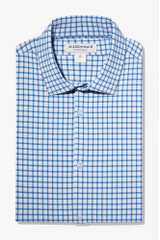 Mizzen+Main Blue Orange Check Lightweight Shirt